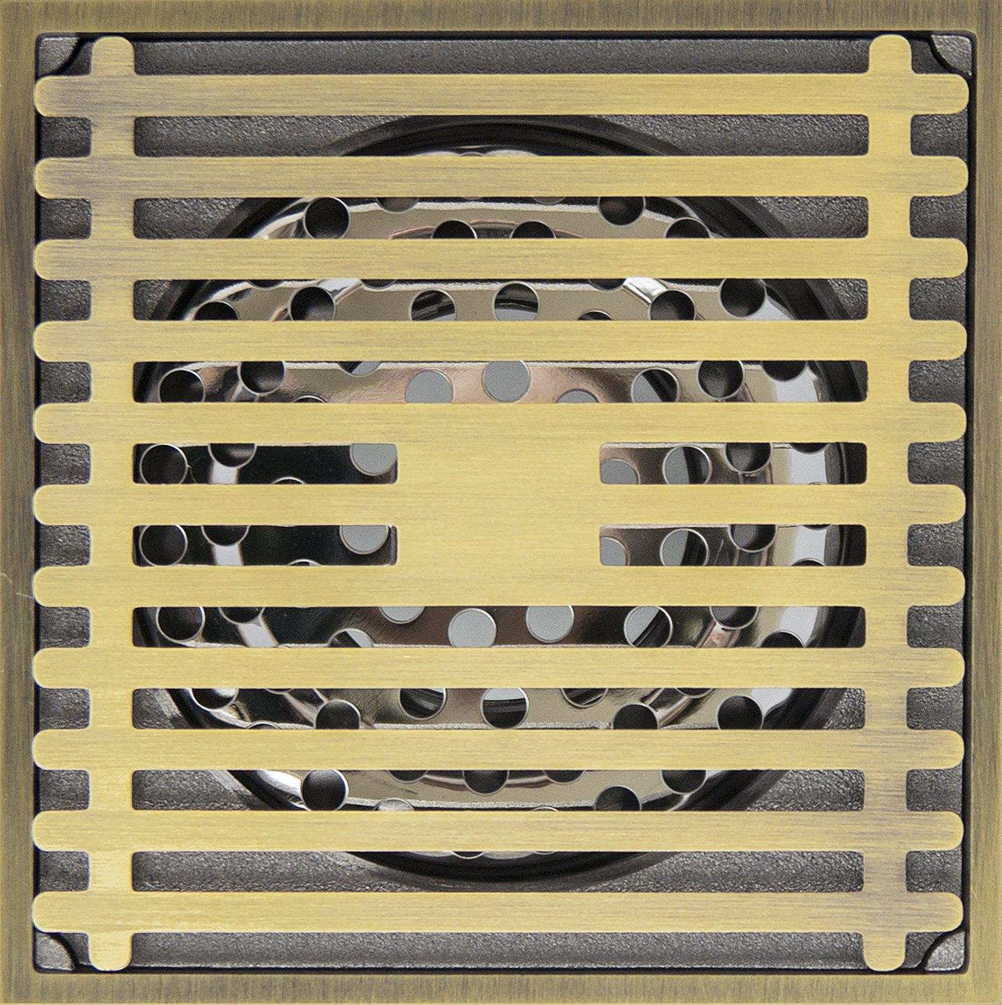 Square Shower Brass Floor Drain,Antique Brass plating Finish Anti-clogging for Kitchen, Washroom, Bathroom,Balcony and Baseme. Striping design with Large displacement