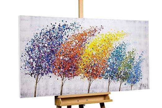 Kunstloft® Cuadro en acrílico Wind of Change 140x70cm   Original Pintura XXL Pintado a Mano sobre Lienzo   Árboles Bosque Abstracto Cuadro acrílico ...