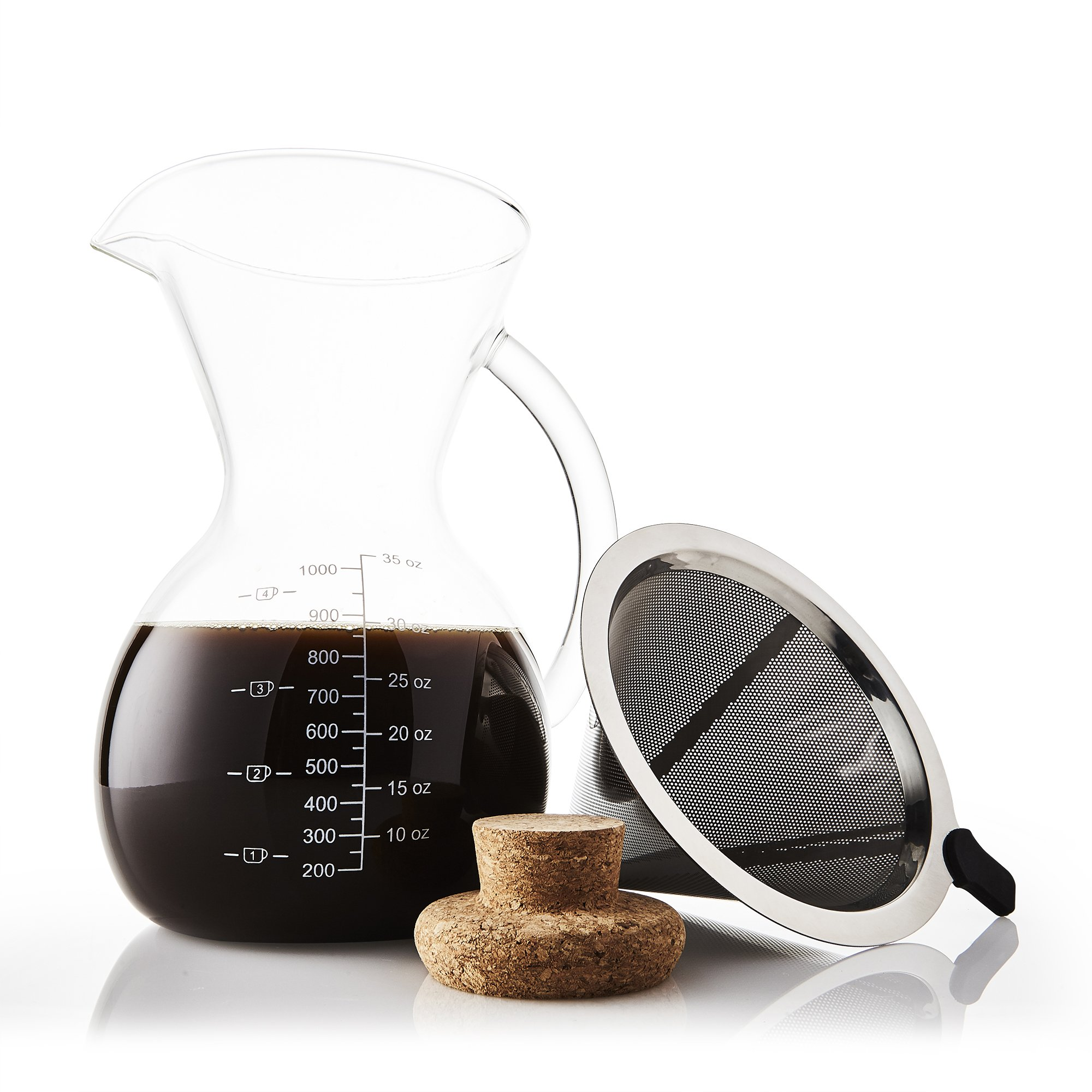 Apace Living Pour Over Coffee Maker Set w/Coffee Scoop and Cork Lid - Elegant Coffee Dripper Pot w/Glass Carafe & Permanent Stainless Steel Filter (1000 ml / 34 oz)