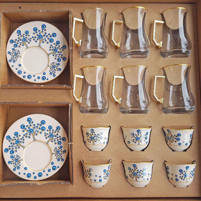 Turkish Tea & Coffee Set 18 pieces Arabic Coffee Cup Podstakannik Moroccan Drinkware (Evil Eye Tree)