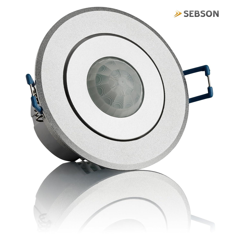 LED Adecuado Montaje en Techo orientable Sensor de Infrarrojos Sebson/® 2X Detector de Movimiento empotrable Alcance 6m//360/° programable Interior