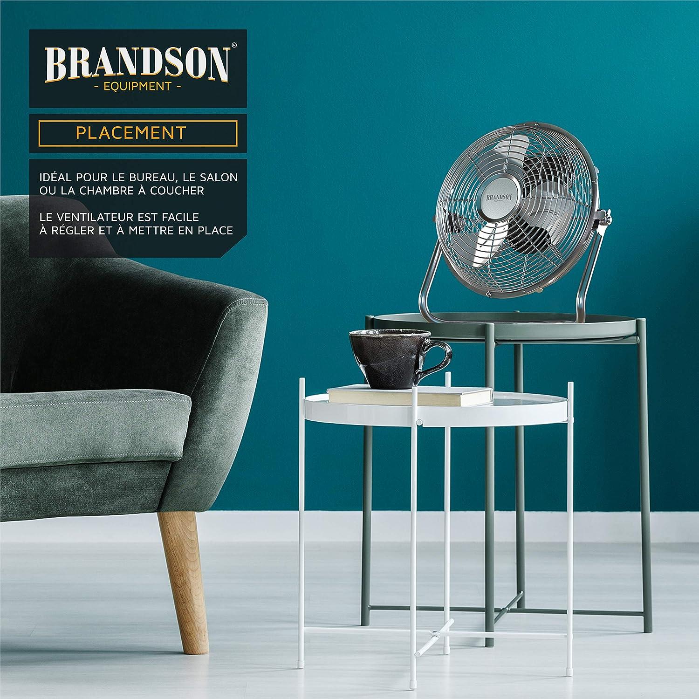 Haut d/ébit dair Inclinaison /à 120/° Ventilateur r/étro 32 W Ventilateur de table ventilateur de bureau silencieux Ventilateur sur pied Brandson Argent chrom/é 3 Vitesse