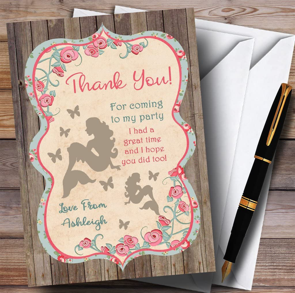 Shabby Chic Woodland Mermaid Party Thank You Cards