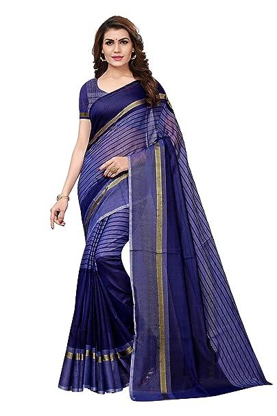 3881d3f820d83 Anni Designer Women s Kora Cotton Saree With Blouse  Amazon.in  Clothing    Accessories