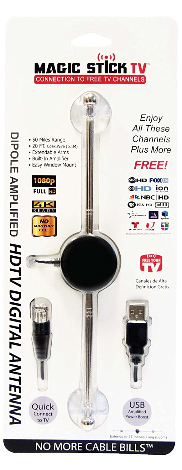 Magic Stick Tv Amplified Built In Signal Booster Guitar Practice On Office Work Topology Diagram Free Download Wiring Digital Antenna With Adjustable Arms 20ft Cable Easy To Install Maximum Range