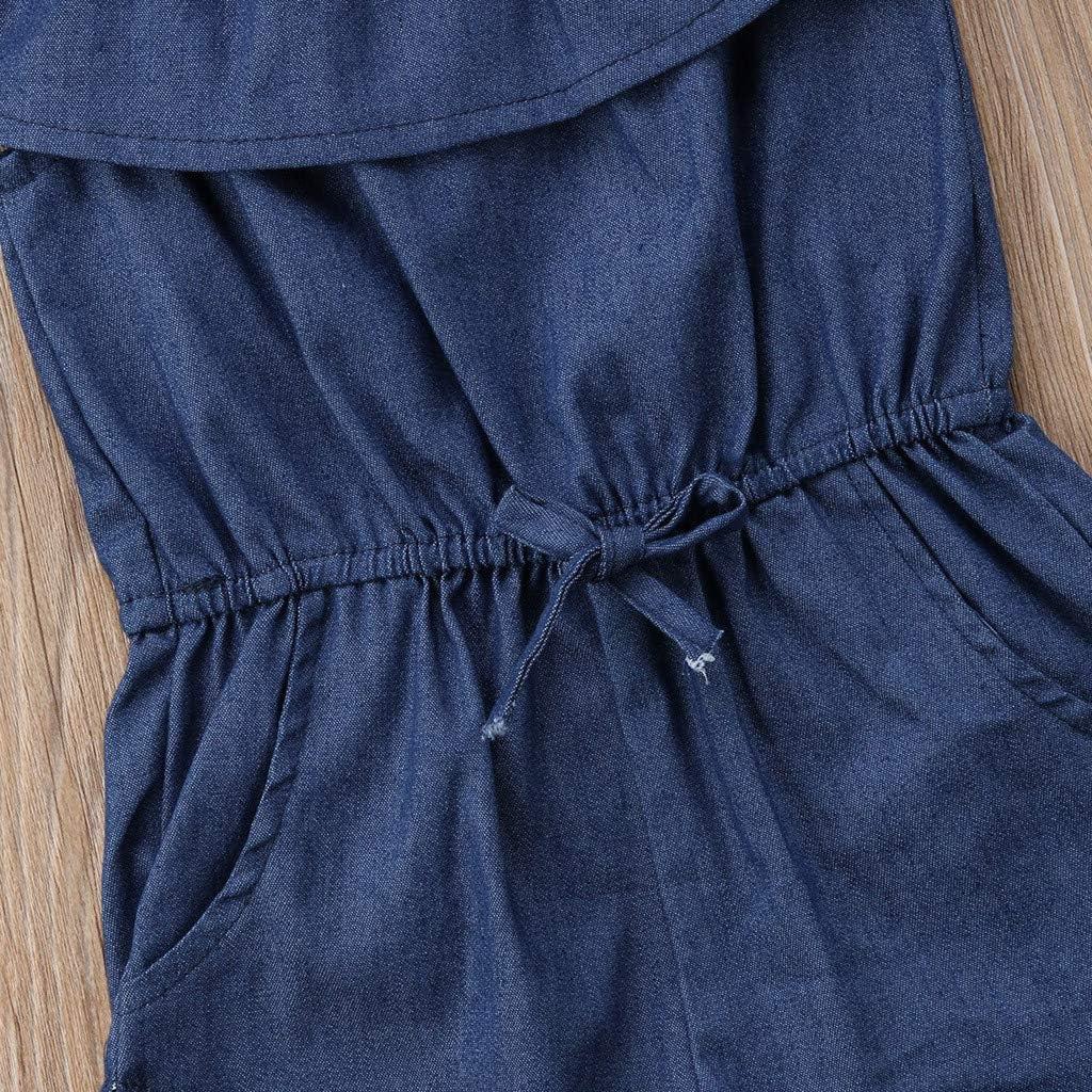 sunnymi /® 1-6 Jahre Baby M/ädchen Denim Strap Romper Ruffle Pocket Jumpsuit Playsuit Kleidung