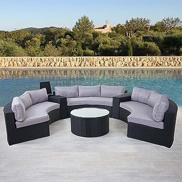 Rattan lounge grau rund  Amazon.de: Luxus Poly-Rattan-Garnitur Savoie, Sitzgruppe Lounge ...