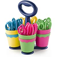 Westcott Anti-Microbial 5'' Pointed Safety Scissors For Kids & Caddy, Assorted, 24 Pack (14755)