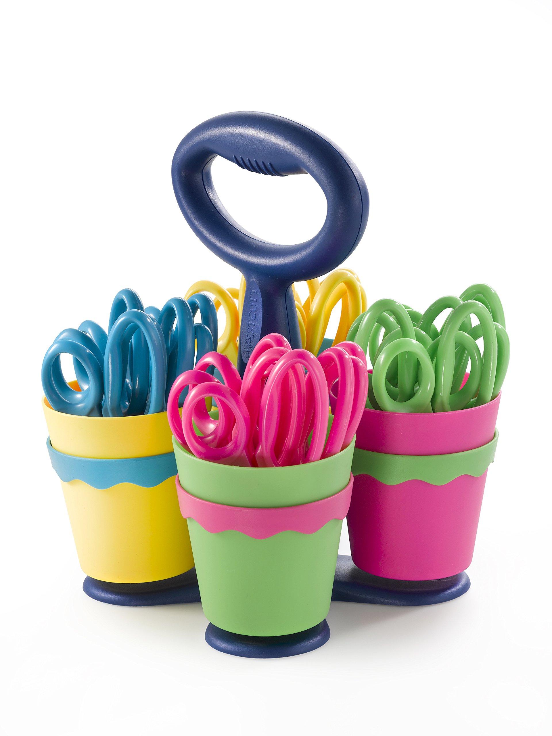 Scissor Caddy with 24 pieces 5'' Kids Pointed Scissors with Anti-Microbial (#14607) by Westcott