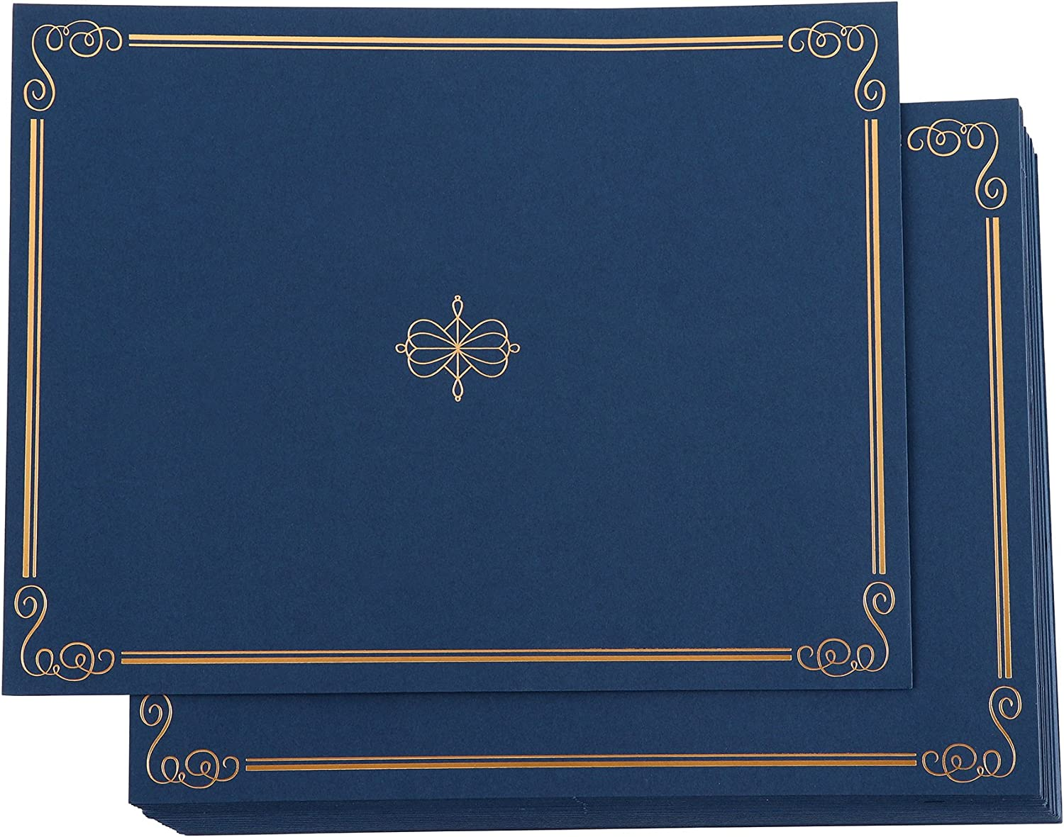 24 Pack Certificate Holders, Diploma and Document Cover with Gold Foil Border, Holds 11 x 8.5 Inches Letter Sized Awards, Navy Blue: Home & Kitchen