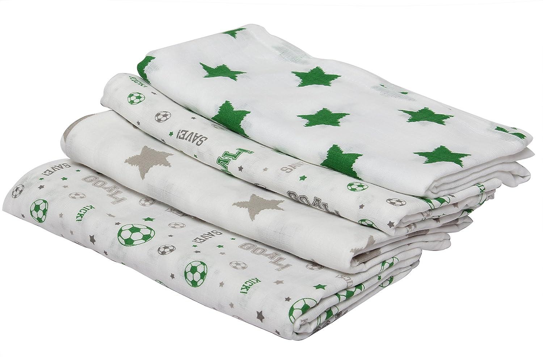 Bacati Soccer Muslin 4 Piece Toddler Bedding Set Green//Grey