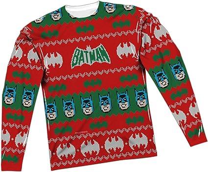 Ugly Christmas Sweater -- Batman All-Over Long-Sleeve T-Shirt, Medium