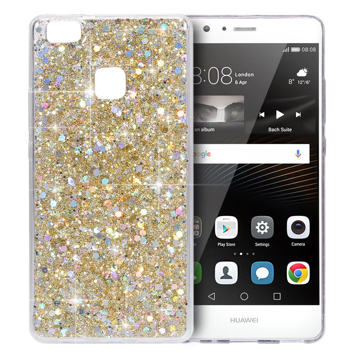 YSIMEE Cover Huawei P9 lite, Xmas Decorazioni Natalizie Custodie Gel Trasparente Brillantini Glitter Chiaro Puro TPU Silicone Shell Protettivo Morbida Ultra Sottile Gomma Cover