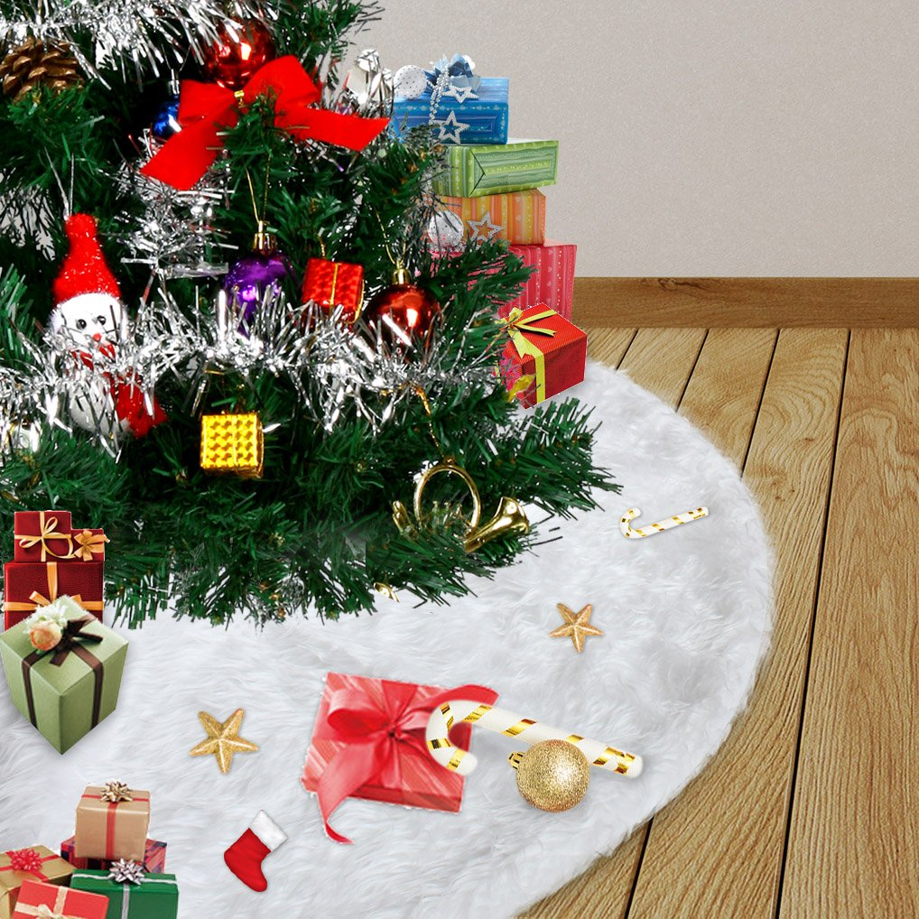 48 inches Christmas Tree Skirt, Faux Fur Christmas Tree Skirt Soft Snow White Tree Skirt for Christmas Decorations (White, 48-inch)