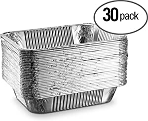 """[30 Pack - 9""""x13""""] Basix Disposable Aluminum Foil Meal Prep Cookware Half Size Pans, Oven, Toaster, Grill, Cooking, Roasting, Broiling, Baking, Event, Take Out, Restaurant"""