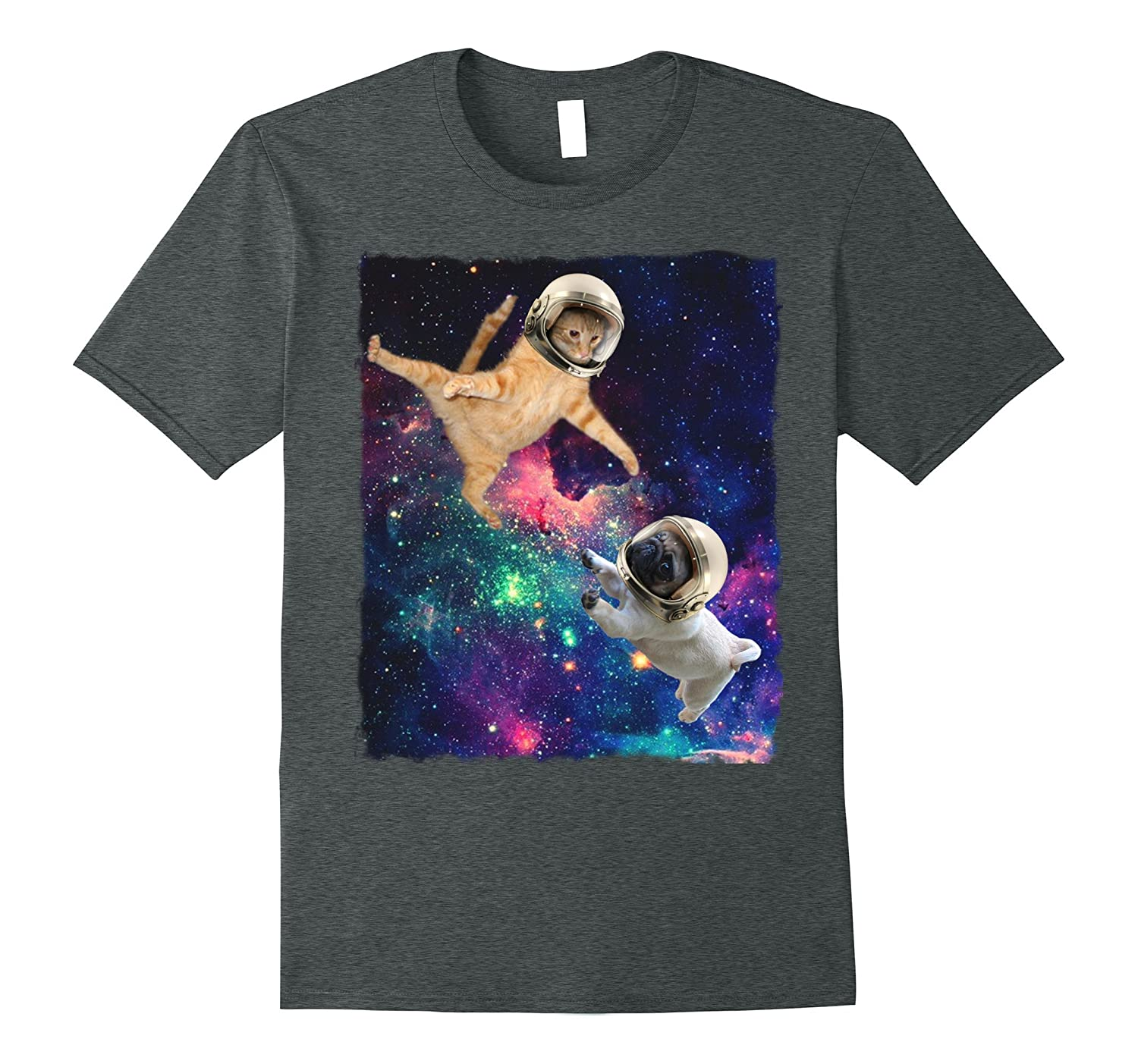 Cute Space Cat vs Pug Shirt Galaxy Epic Fight In Outer Space-T-Shirt