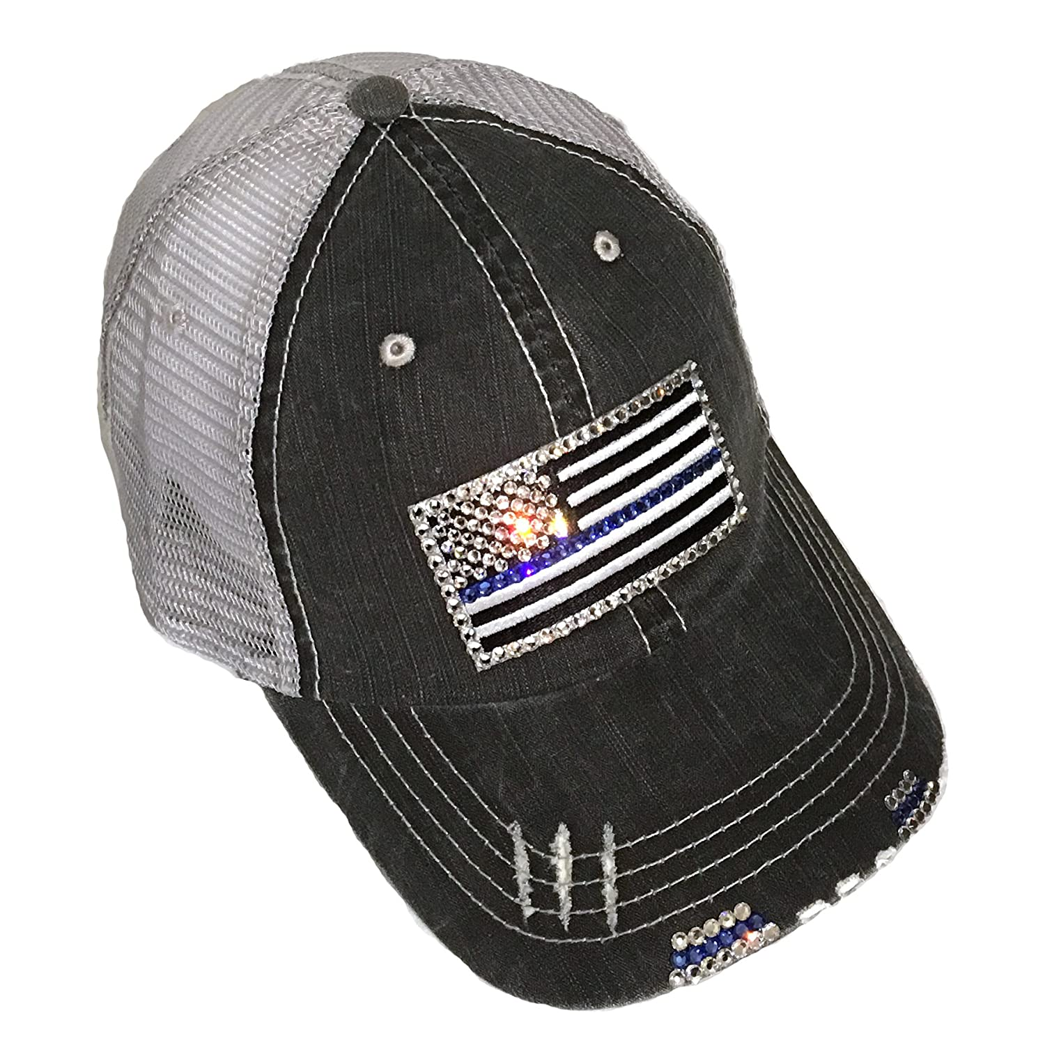 ad68e291ccd Thin Blue Line Flag Baseball Cap for Women Fitted Mesh Trucker Swarovski  Bling at Amazon Women s Clothing store