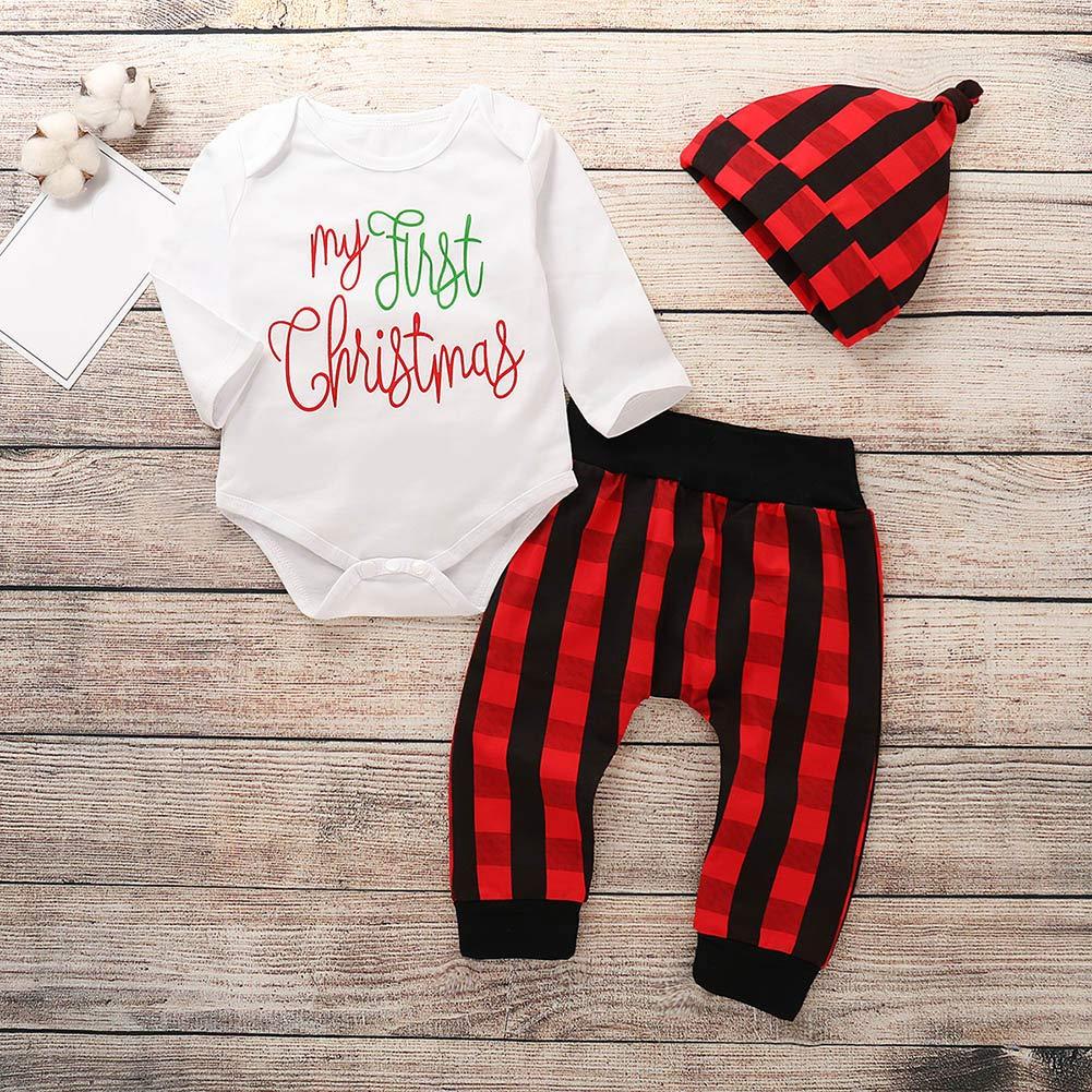 1e9187a6f Amazon.com: 3Pcs Newborn Baby Boy Girl My First Christmas Print Romper Red  and Black Plaid Checked Pant Outfit Clothes with Cute Hat: Clothing