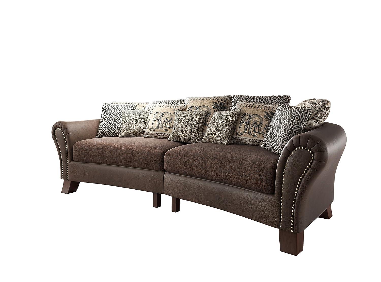 New Level Jersey Big Sofa mit Ziernägeln, Stoff, braun / beige, 140 ...