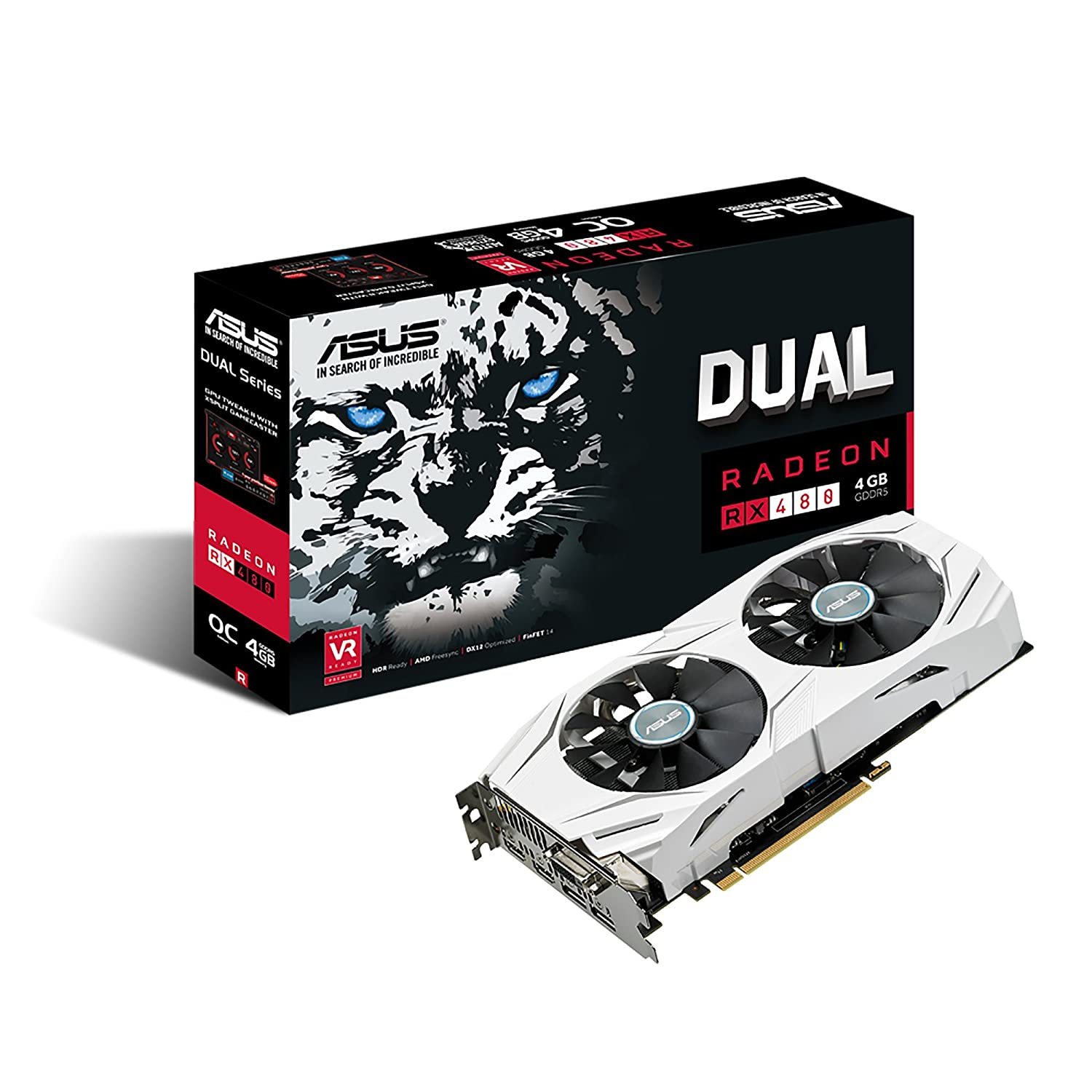 ASUS Dual-Fan Radeon Rx 480 4GB OC Edition AMD Gaming Graphics Card with DP  1 4 HDMI 2 0 (DUAL-RX480-O4G)