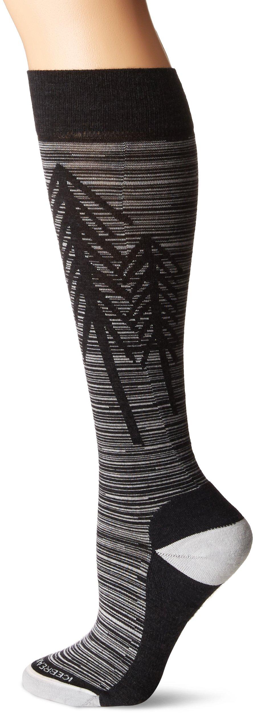 Icebreaker Merino Women's Lifestyle Light Over The Calf Socks, Jet Heather/Snow, Medium