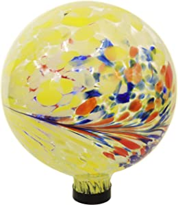 Sunnydaze Bright Summer Burst Gazing Ball - Yellow, Red, Blue, and White Decorative Glass Garden Globe Sphere - Outdoor Patio, Lawn, and Yard Orb Ornament - 10-Inch
