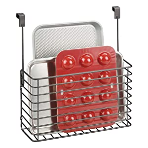 mDesign Metal Over Cabinet Kitchen Storage Organizer Holder or Basket - Hang Over Cabinet Doors in Kitchen/Pantry - Holds Bakeware, Cookbook, Cleaning Supplies - Steel Wire in Graphite Gray