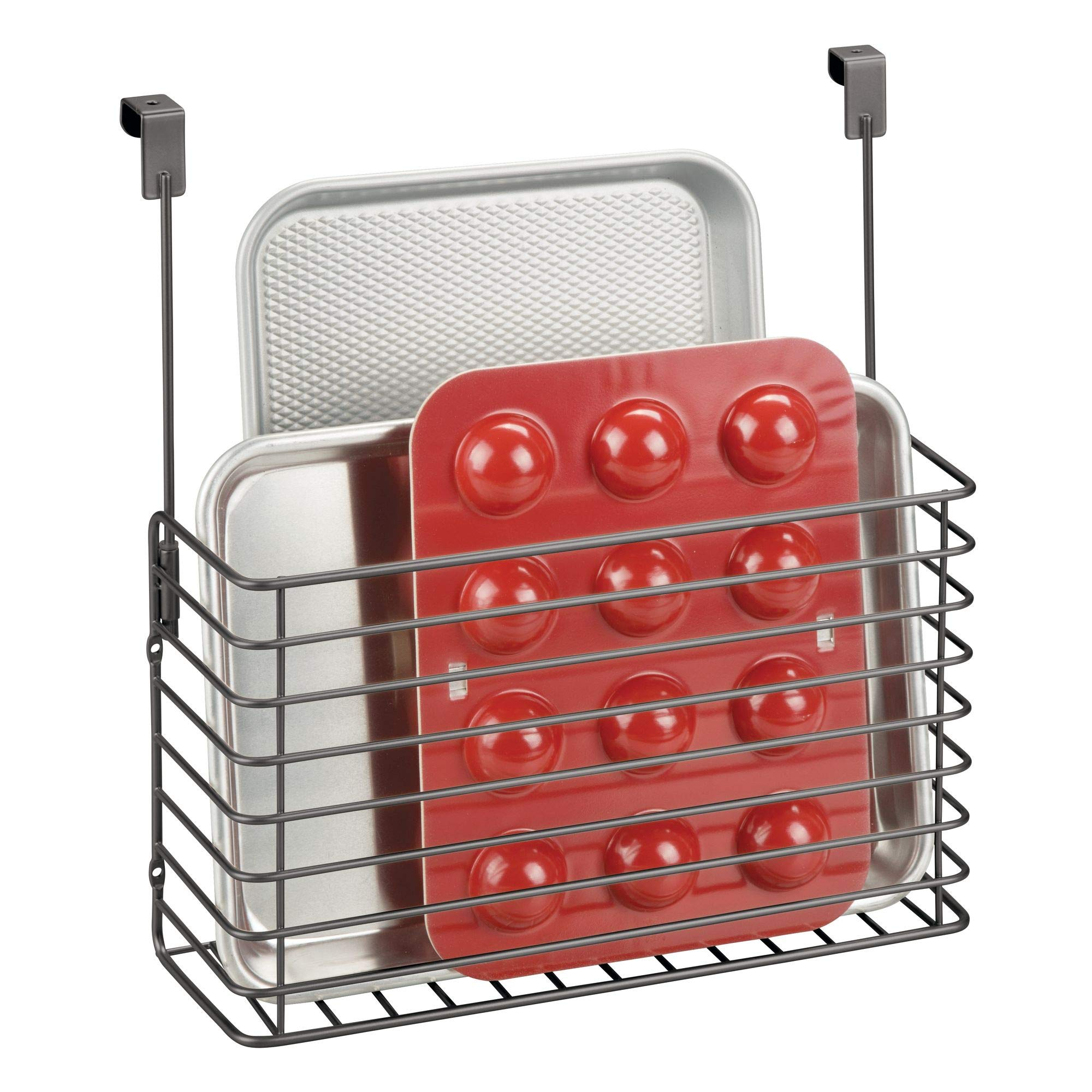 mDesign Metal Over Cabinet Kitchen Storage Organizer Holder or Basket - Hang Over Cabinet Doors in Kitchen/Pantry - Holds Bakeware, Cookbook, Cleaning Supplies - Steel Wire in Graphite Gray Finish