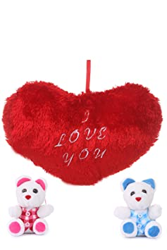 Deals India Valentine Gift Heart Cushion With Two Cute Teddy Combo