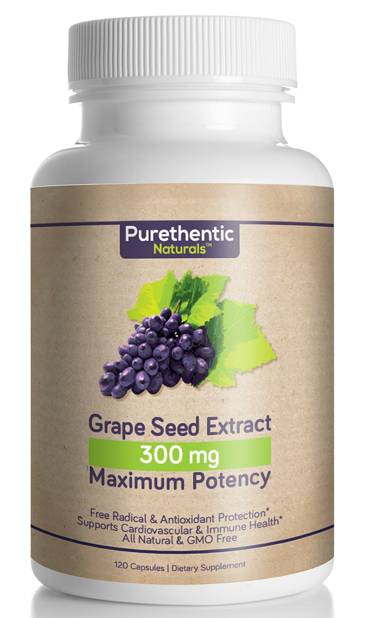 Grape Seed Extract Capsules 300mg, 120 Count, 4 Month Supply, Natural - High Potency - (95% Proanthocyanidins) Purethentic Naturals, (1 Bottle) by Purethentic Naturals