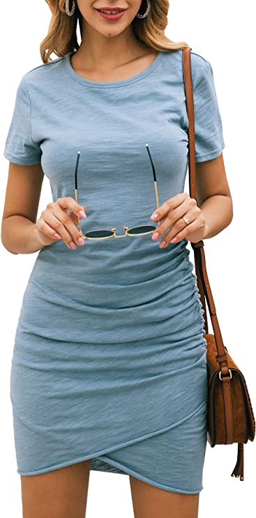 BTFBM Women's 2020 Casual Crew Neck Ruched Stretchy Bodycon T Shirt Short Mini Dress (104Blue, Small) best women's spring dresses