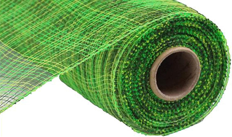 Multi Stripe Deco Poly Mesh Ribbon - 10 inch x 30 feet (Moss, Lime, Apple)