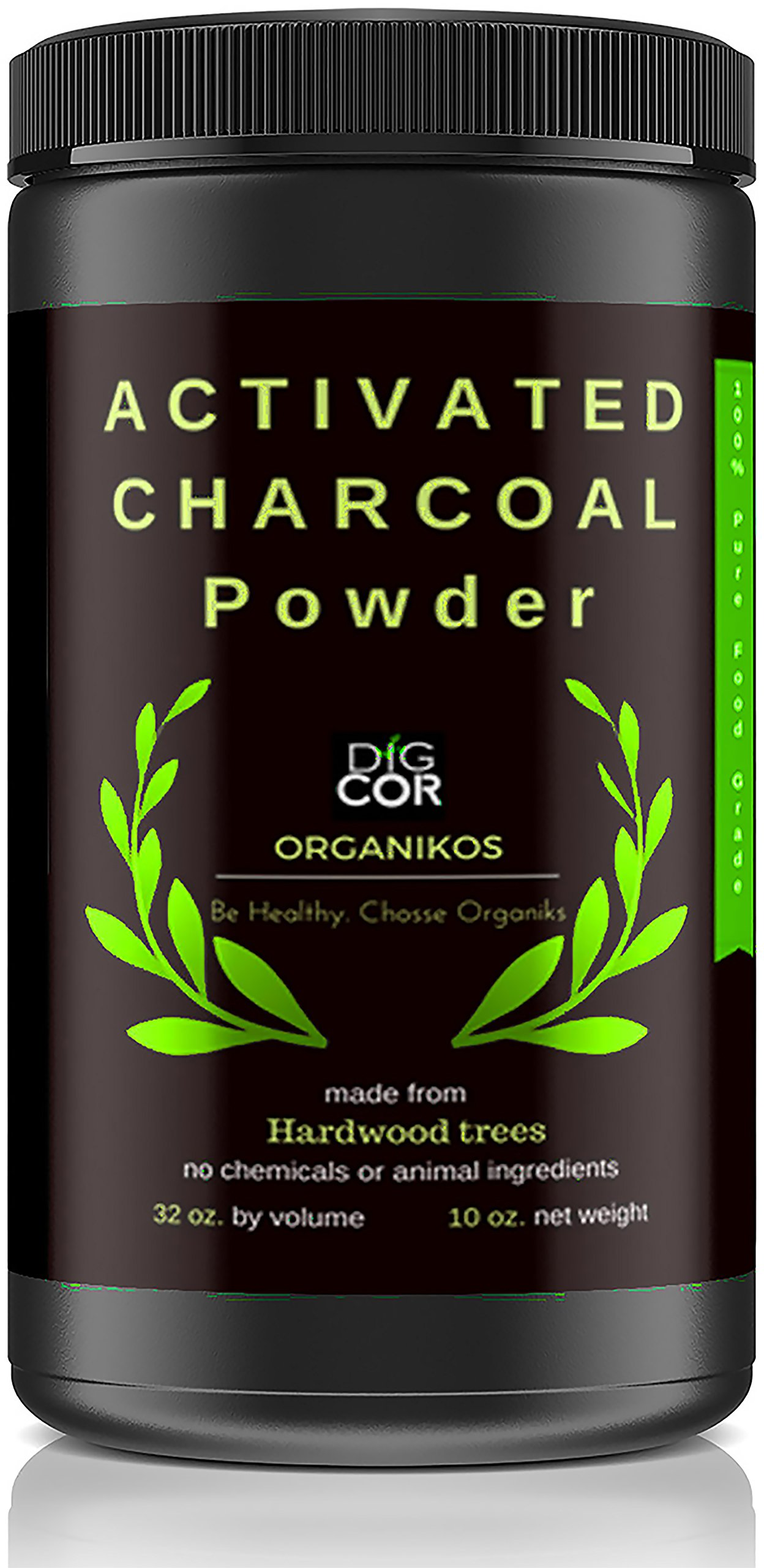 Activated Charcoal Powder by DIGCOR Organikos : Large Jar Natural Hardwood Charcoal Powder, Pure Food-Grade, USA-Made Charcoal Teeth Powder, Detox Face Mask, Digestive System + E-Book