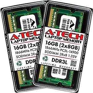 A-Tech 16GB (2x8GB) DDR3 / DDR3L 1866MHz SODIMM PC3L-14900 2Rx8 Dual Rank 1.35V CL13 204-Pin Non-ECC Unbuffered Notebook Laptop RAM Memory Upgrade Kit