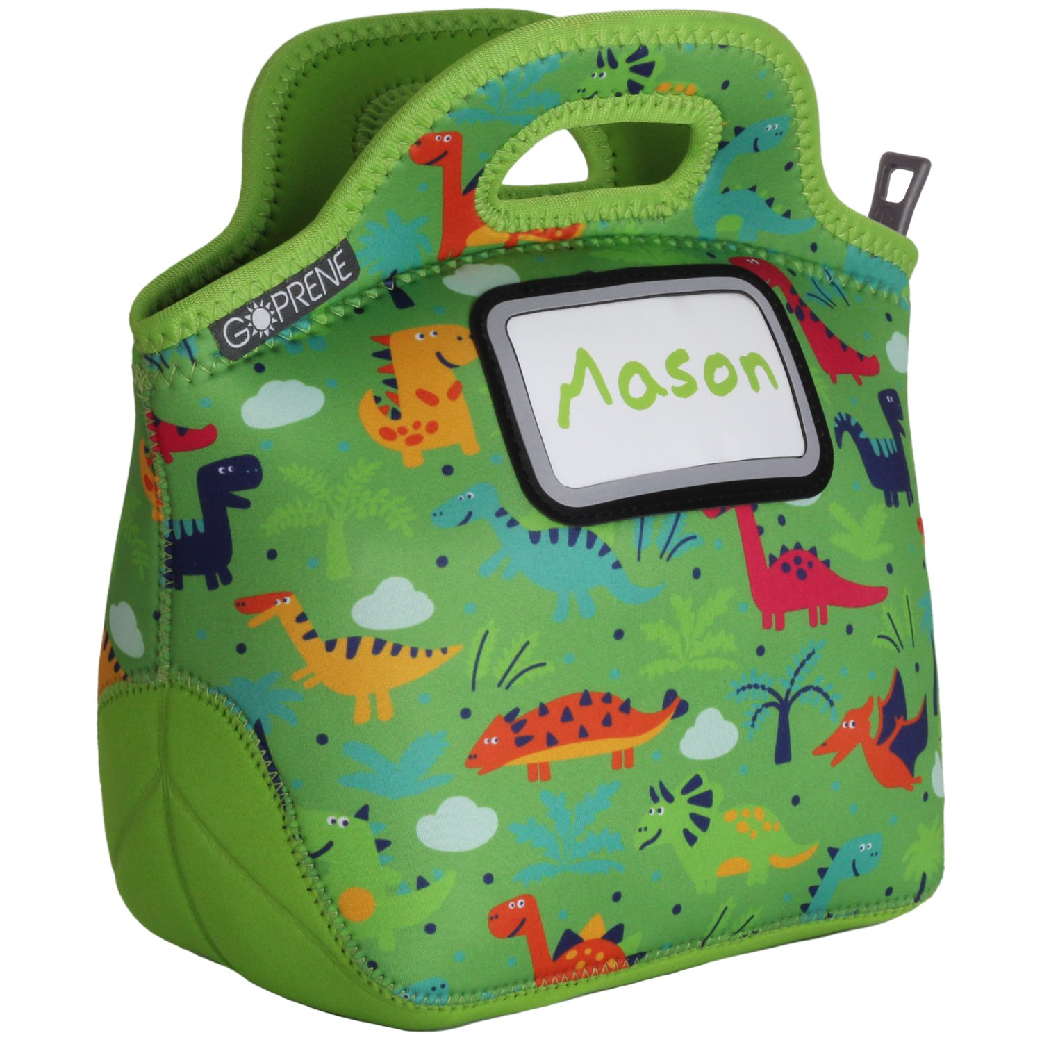 GOPRENE Kids Dinosaur Neoprene Lunch Bag with ID Card Pocket | Identi-Tote Insulated, Reusable, Foldable, Washable, Color: Green Dino, 3 Blank Name Cards
