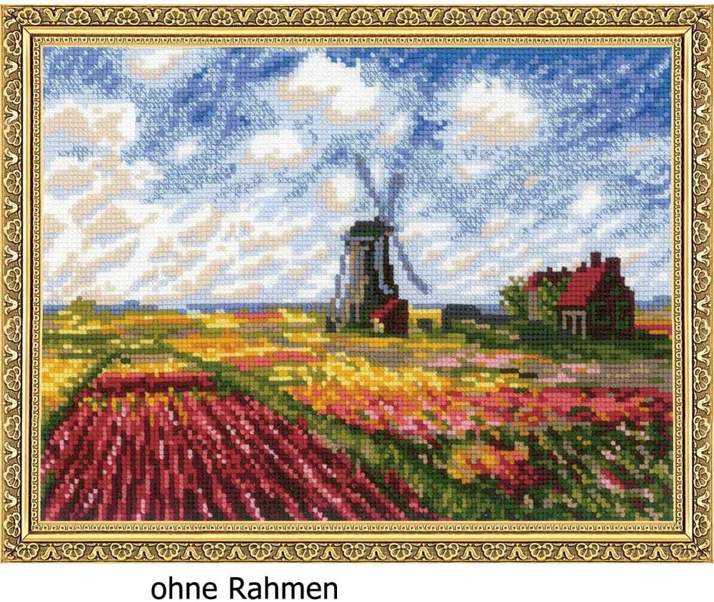 Tulip Fields After C White AIDA 20 Colors RIOLIS 1643 Monets Painting Counted Cross StiWtch Kit 13X9.75 Zweigart 10ct