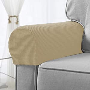 Sofa Armrest Cover Stretch Armchair Slipcover Furniture Armrest Protector for Sofa Chair Recliner Couch Loveseat Set of 2 (Beige Yellow)