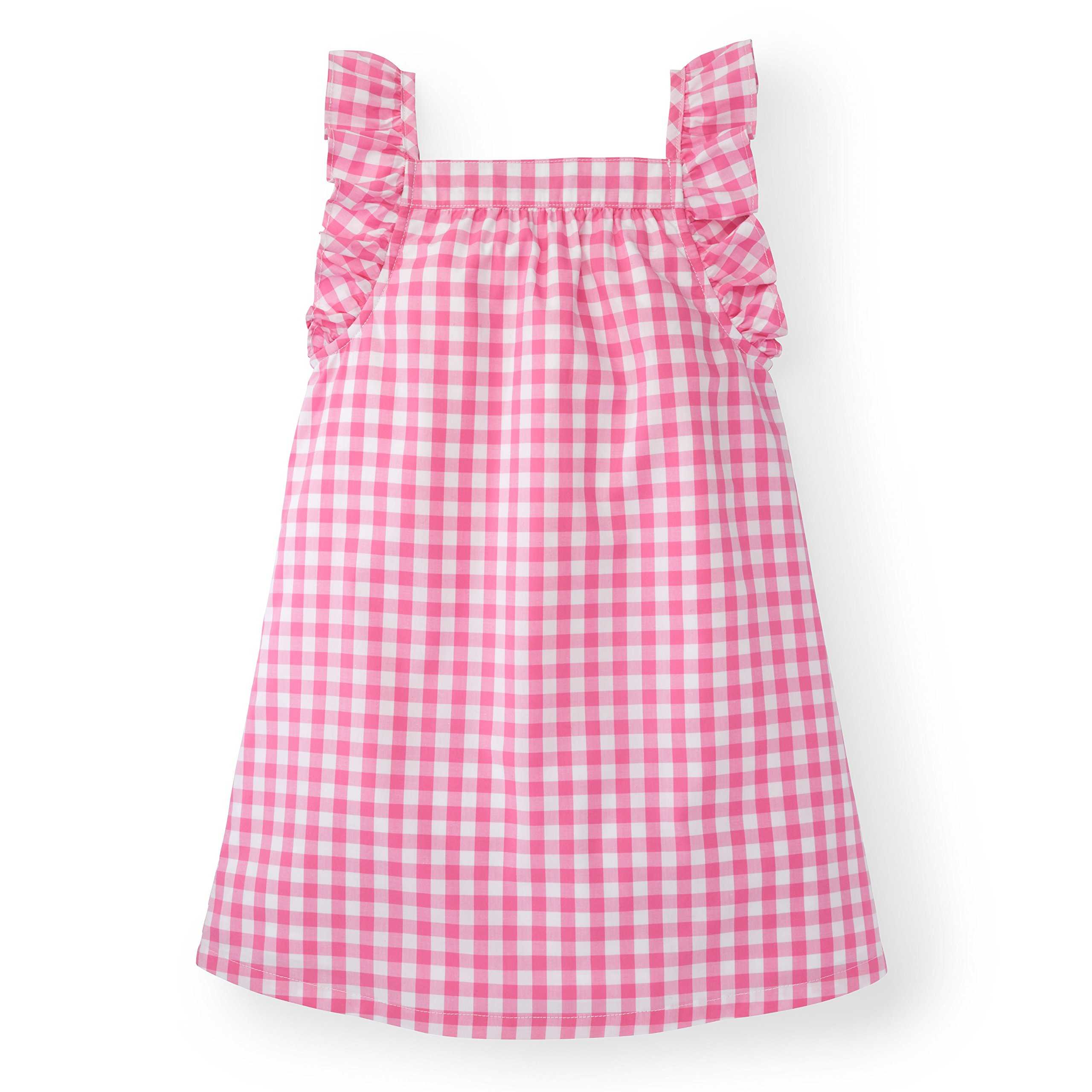 Hope & Henry Girls' Pink Gingham Frill Sleeve Woven Dress Made with Organic Cotton by Hope & Henry (Image #1)