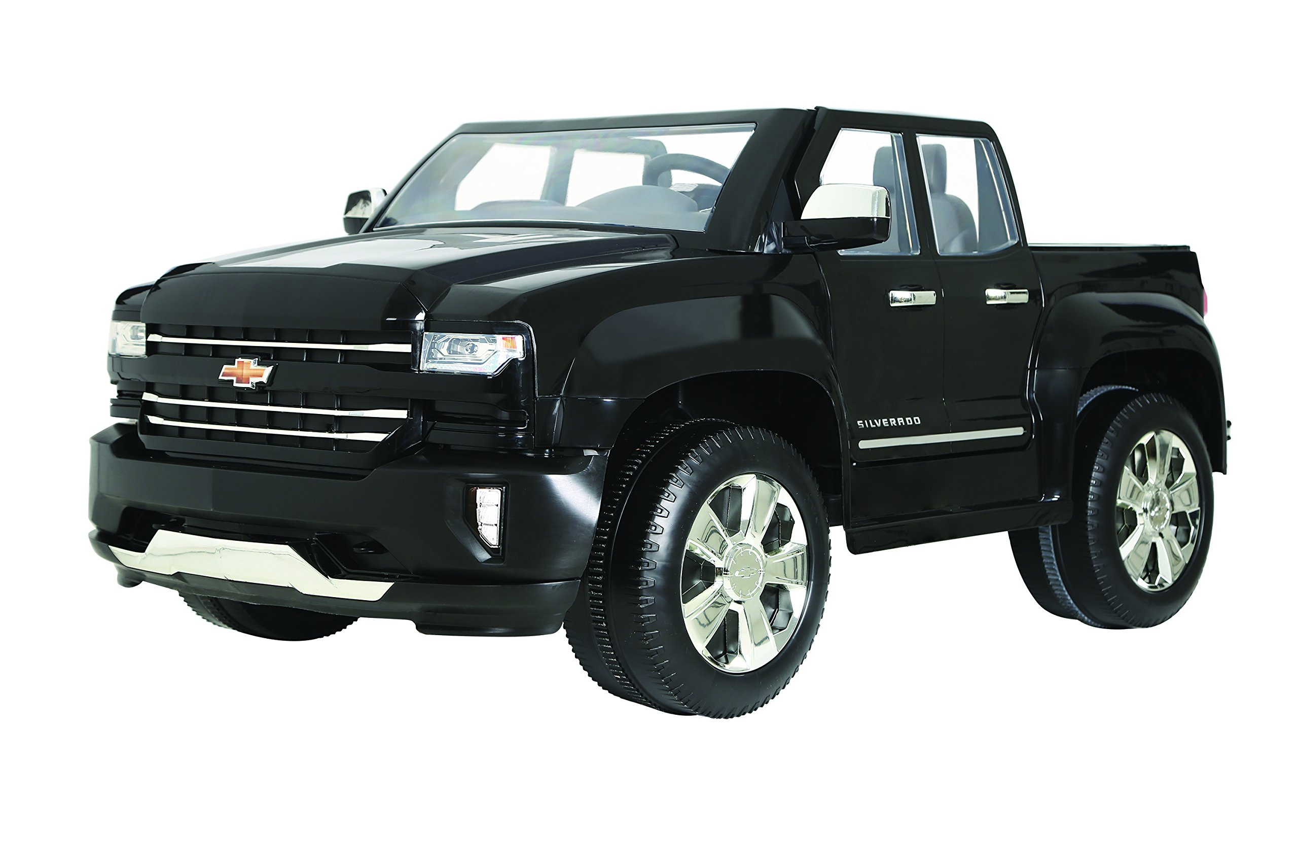 Rollplay W461-P 12V Chevy Silverado Truck Ride On Toy, Battery-Powered Kid's Ride On Car - Black, Small