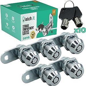 "LATCH.IT 7/8"" RV Storage Locks | 5-Pack RV Compartment Locks | Utility Cam Lock | 100% Metal RV Locks for Storage Door on Camper or Trailer | Complete RV Cam Locks with 10 Keys from RV Lock Experts!"