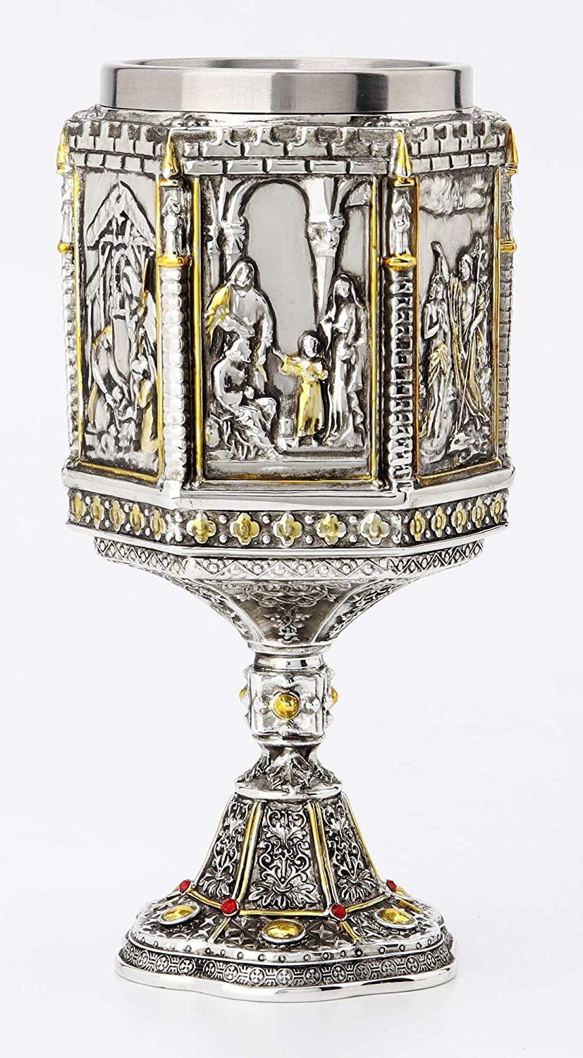 Veronese Design 7 1//8 Life Of Jesus Wine Chalice With Stainless Steel Tumbler Electroplated Polyresin Sculpture Cup