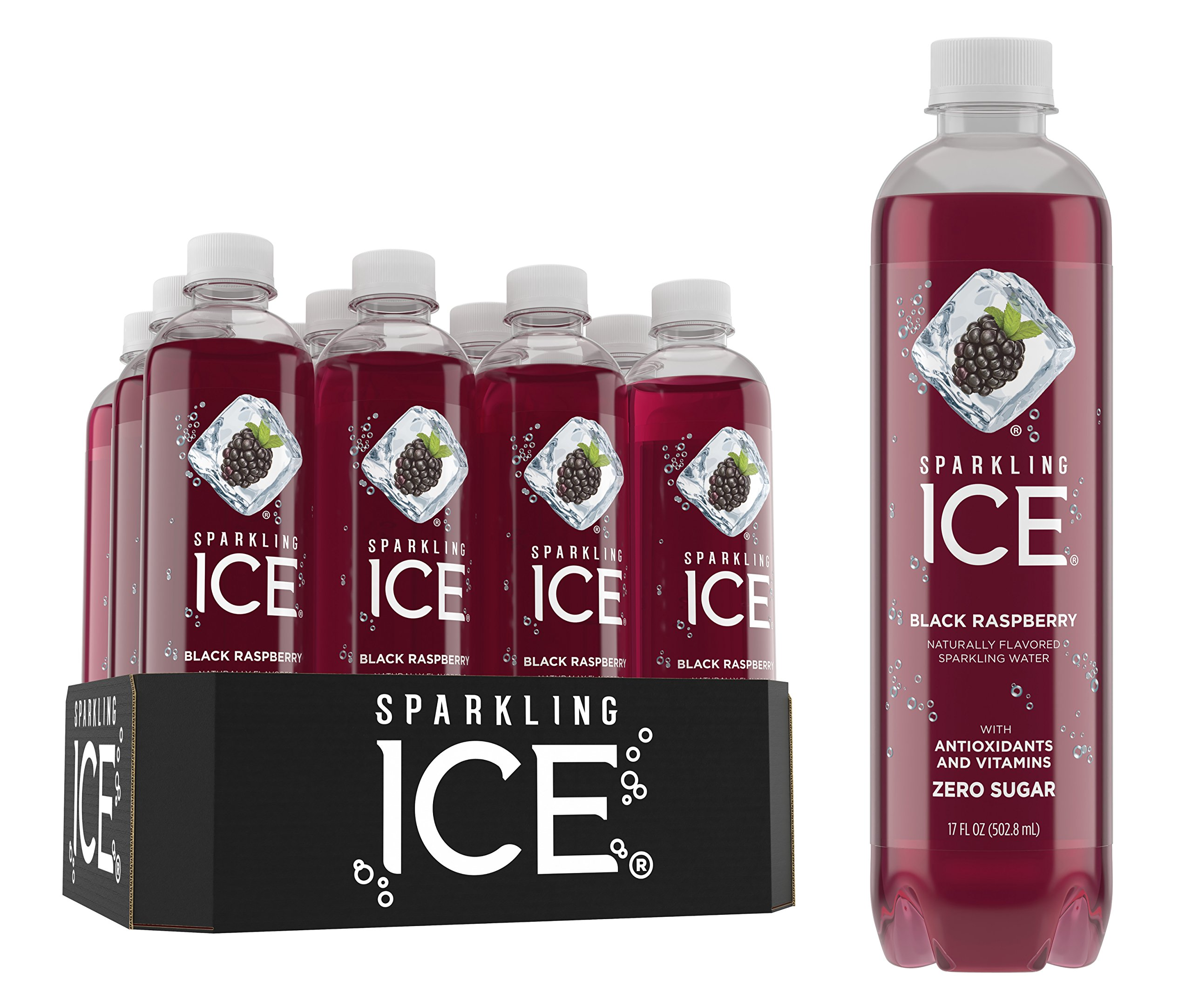 Sparkling Ice Black Raspberry Sparkling Water, with Antioxidants and Vitamins, Zero Sugar, 17 Ounce Bottles (Pack of 12)