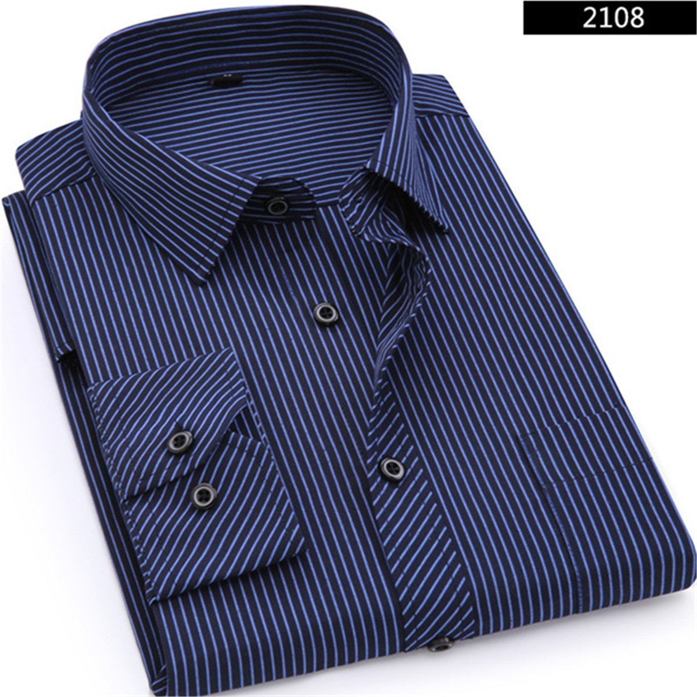 Sonjer Plus Large Size 8XL 7XL 6XL 5XL 4XL Mens Business Casual Long Sleeved Shirt Classic Striped Male Social Dress Shirts