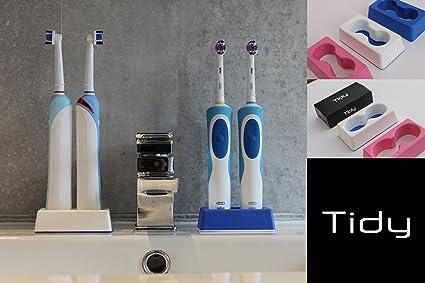 Soporte para cepillo de dientes eléctrico, plástico, azul, redondo