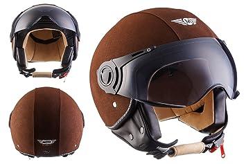 Moto Helmets H44 - Helmet Casco de Moto , Marrón Cuero, M (57-