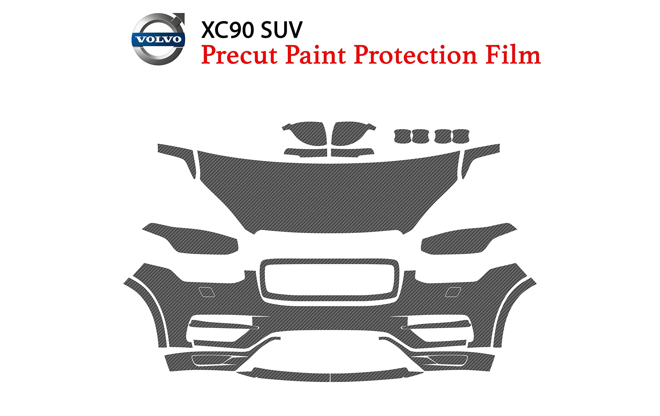 The Online Liquidator Precut Clear Bra Paint Protection Film Kit fits Volvo XC90 SUV 2016-2019 - Full Front Vinyl Wrap Surface Safeguard Armor Cover