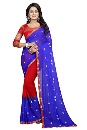 Kanchan Womens Pure Chiffon Bandhani Print Saree With Blouse KSH BLUE RED Multi Coloured