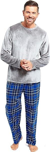 Slumber Hut® Pijama de forro polar gris para hombre – azul franela de algodón cepillado – cintura completa tamaño pequeño hasta 2XL