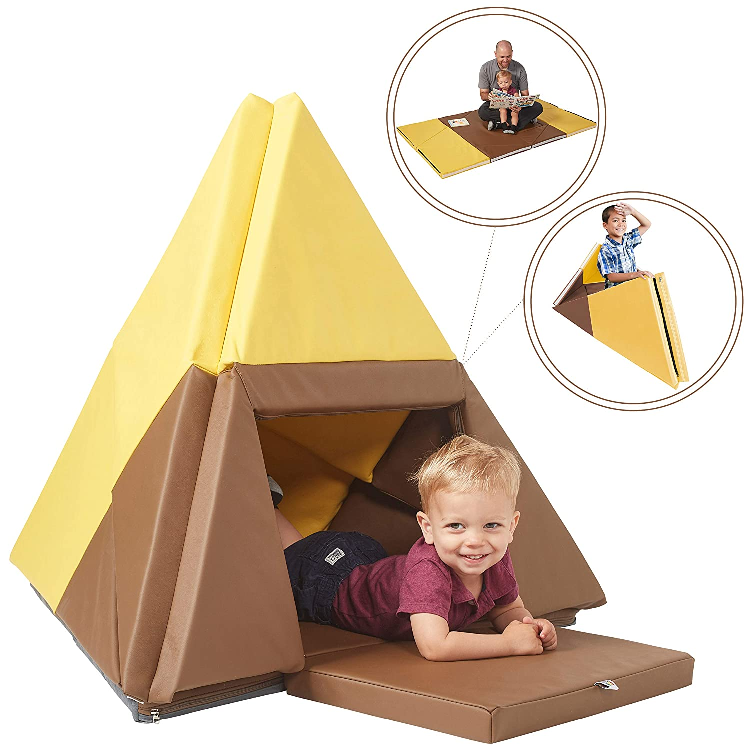 ECR4Kids Tent Canoe and Tumbler Too Folding Play Mat - Unique Transforming Activity Mat for Toddlers and Kids, Chocolate/Yellow