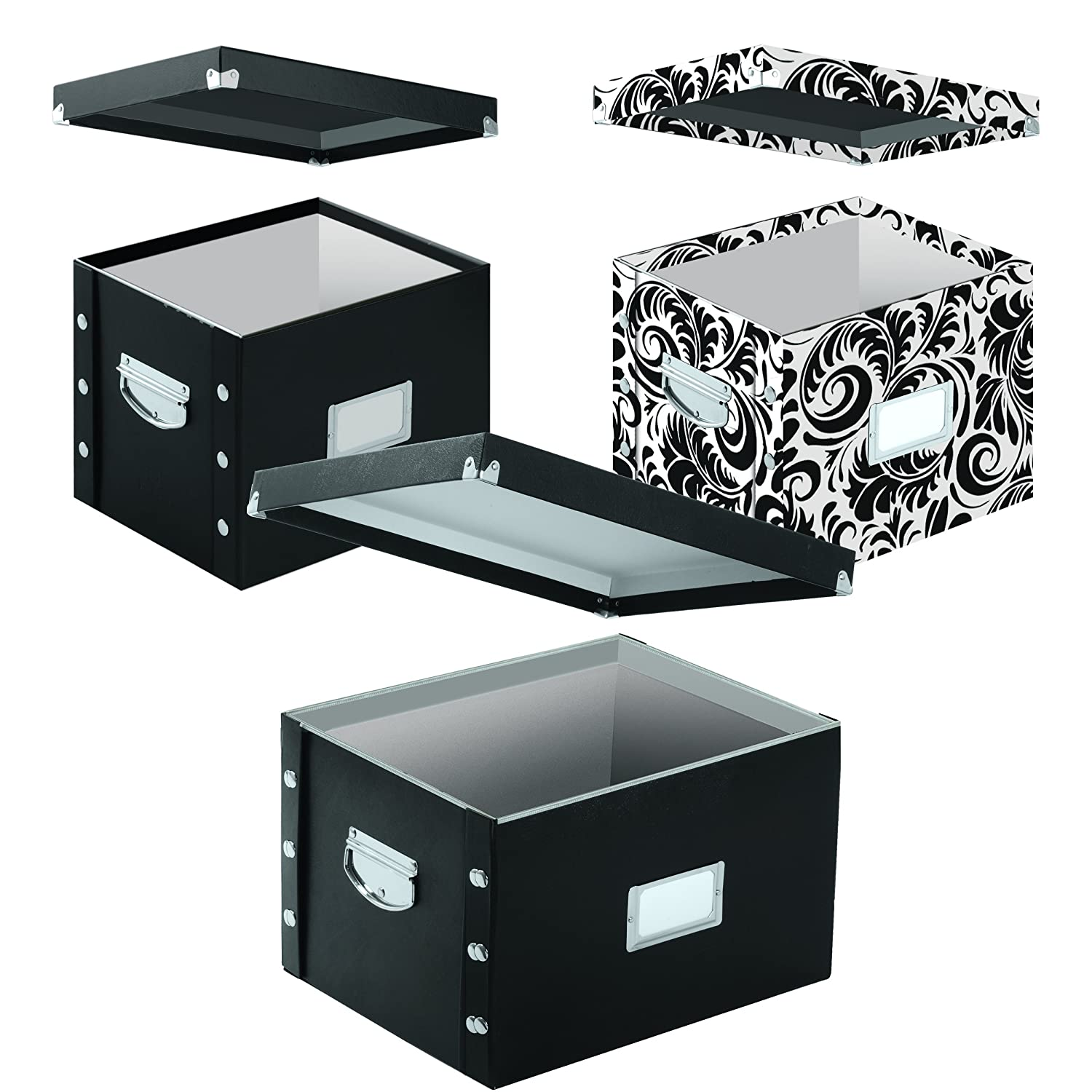 Snap-N-Store Snap Together File Box, Letter, 9.75 Height x 10.75 Depth x 13.25 Width Inch, Glossy Black (SNS01533)